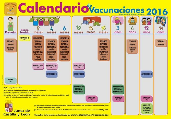 Calendario de vacunaciones 2016